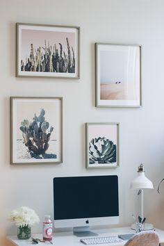 desk gallery wall, home office, desert prints