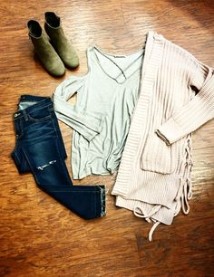 {All the Little Things}✨💕~xoxo >>>•Sweetest cold shoulder top•Denim •Booties •Side Lace up cardigan<<< Pair with high ponytail; knee big boots; white denim; olive jacket; for alternative looks . For immediate assistance call #apricotlanefargo #fargo #fm #northdakota #love #cardigan #happiness #ootd #stylegoals #goals #style #instafashion #inspo #newarrivals #boutique #trends
