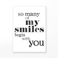 """Printable love quote card """"so many of my smiles begin with you"""" Valentine card for him, distressed vintage pdf -pp129 INSTANT DOWNLOAD by blursbyaiShop, $4.90"""