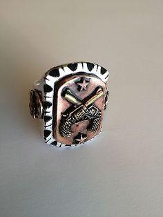 Vintage Rockabilly 1940s 50s Mexican Cowboy Biker Gun Novelty Ring Tattoo Skull