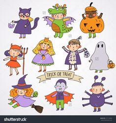 Cute Cartoon Children In Halloween Costumes: Princess, Ghost, Pumpkin, Spider, Dragon, Devil, Witch, Vampire, Cat Stock Vector Illustration 217119496 : Shutterstock