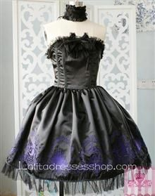 Lolita Grade Fabrics Black Thick Satin Taffeta Tube Top Ruffles Bow Sweet Dress