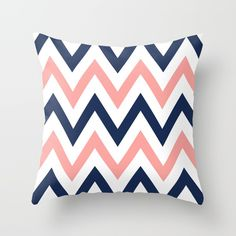 Coral & Navy Chevron Throw Pillow by Dani. Worldwide shipping available at Society6.com. Just one of millions of high quality products available.