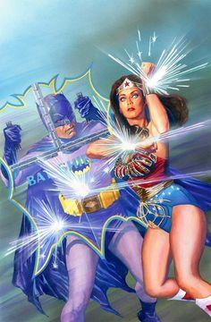 Alex Ross art - Adam West Batman and Lynda Carter Wonder Woman