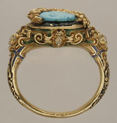 Mid 16th century, probably Italian, turquoise, enamel and gold. 4th century Cameo.