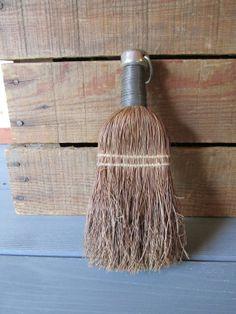 Vintage Brush Whisk Broom. Primitive straw hand brush.