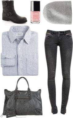 Shirt par emmalis utilisant jeans vieillisThom Browne button down shirt / Anine Bing jeans vieilli, $175 / Balenciaga weekender bag / Uniqlo cashmere cap / Billi Bi 1919-080 Støvle, $200