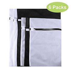 IEKA Mesh Laundry BagsSuper Premium Quality Mesh Wash Bag for Blouse Hosiery Stocking Underwear Bra and Lingerie Travel Laundry BagSet of 6 3 M 3 LBlack  White *** Visit the image link more details.