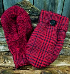 Your place to buy and sell all things handmade Sweater Mittens, Wool Sweaters, Red And Black Plaid, Red Plaid, Black Button, Wool Coat, Upcycle, Handmade, Etsy