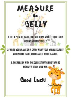 Jungle theme Measure the Belly baby shower game by DesCreates
