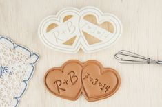Wedding Cookie Cutter Double Heart Shaped Cookies Personalized    Why spend extra money on getting cookies made for your wedding when you can make