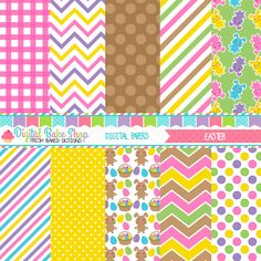 Easter Digital Papers - brightly colored Easter papers for crafts, scrapbooking, invitations and more.