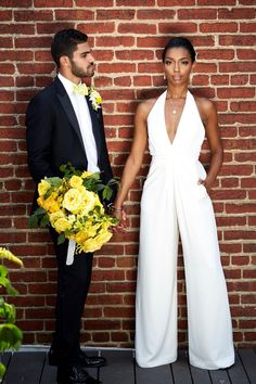 Get In Formation: Lemonade Inspired Wedding Styled Shoot! via Black Bride Yellow Jumpsuit, Jumpsuit Dress, Interracial Wedding, Interracial Couples, Courthouse Wedding Dress, Wedding Jumpsuit, Wedding Attire, Wedding Hair, Wedding Dresses