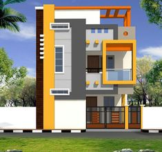 Best 12 Home Design Plan With 3 Bedrooms – Sam Phoas Homesearch – SkillOfKing. House Outer Design, House Front Wall Design, Single Floor House Design, Small House Design, Modern House Design, Front Porch Design, 3 Storey House Design, Bungalow House Design, Indian House Exterior Design