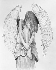 It will be all right by miguellore on DeviantArt This is a drawing I finished only about a month ago. i was fed up with not being able to see an Angel picture from the side, so I used a friend to draw her body and drew the wings similar to my las. Fairy Drawings, Bff Drawings, Cool Art Drawings, Pencil Art Drawings, Art Drawings Sketches, Drawings Of Angels, Angel Tattoo Drawings, Tattoo Pics, Wings Drawing