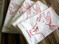 Double Duty Napkins/Favors: When Pigs Fly!