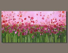 FREE SHIP abstract painting flowers bold color pink orange