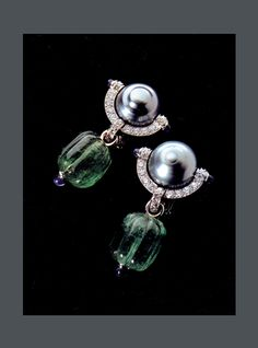 E-3368 Tahitian Pearls, Sapphire Cabochon, carved Emerald drops and Diamond pave set in Platinum
