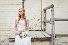 rustic/wedding/bouquet/neutrals/country/grey suit/brown shoes/photography/modest/dress/wedding hair/boots/barn wedding/lace/bridals/spring wedding/veil