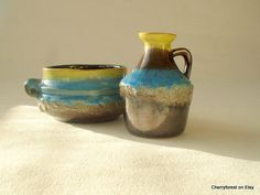 Strehla pitcher vase and bowl,  green brown and blue Lava drip glaze ,vintage East German pottery,