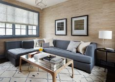 Central Park Family Room with Moroccan Rug and Grasscloth Wallpaper