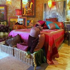 Bohemian bedroom , gorgeous fabric