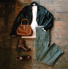 Found at Common Sort - faux leather jacket, F21 sweater, vintage trousers, Hope boots and Cole Haan handbag