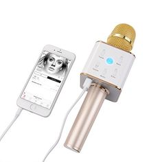 Karaoke Microphone Wireless by MicTune 2 In 1 Builtin Bluetooth Speaker Handheld mic Portable singing machine Compatible with SmartphoneiPhone iPad iPodAndroid PhonesGOLD -- You can find more details by visiting the image link.