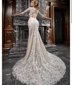 Venita Lavish lace romantic sleeve wedding dress ,Lavish lace romances this one-of-a-kind gown styled with sparkling sequins, pearly beads and sultry illusion accents in a shapely, mermaid-style silhouette. Western Wedding Dresses, Bridal Dresses, Wedding Gowns, Wedding Venues, Bridesmaid Dresses, Banquet, Long Sleeve Wedding, Princess Wedding, Princess Cut