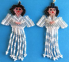 Mexican Huichol Beaded Angel earrings by Aramara on Etsy