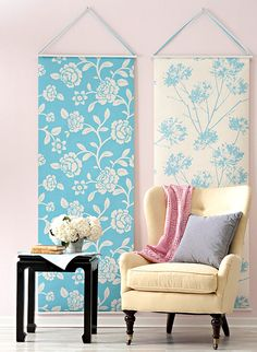 Blue and white floral wallpaper panels