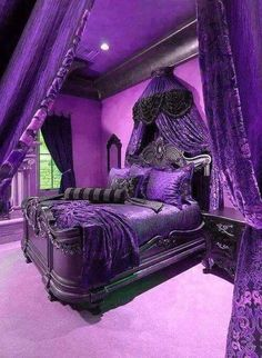 17 Purple Bedroom Ideas that Beautify Your Bedroom's Look - Decor - Furniture - Gadgets - Home - Interior Design - Inventory - Rooms - Tableware - Bedding Master Bedroom Purple Furniture, Gothic Furniture, Medieval Furniture, Classic Furniture, Purple Bedroom Design, Royal Purple Bedrooms, Royal Bedroom, Purple Home Decor, Bedroom Colors