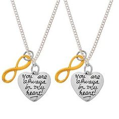 MJARTORIA 2 You Are Always in My Heart Infinity Necklaces Set for BFF Couples Sisters Mom and Daughter