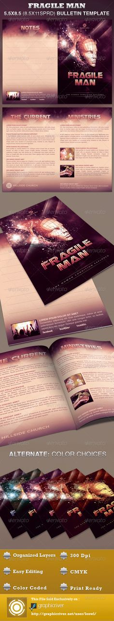 Fragile Man Church Bulletin Template is sold exclusively on graphicriver, it is great for any Church Event. Use it for Sermons, Pageants and Musicals, etc. The layered Photoshop files are color coded and organized in folders for easy editing. The file also contains 6 – One Click Color options. - $7.00