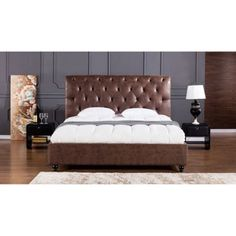 American Eagle Furniture Brooks Platform Bed with Tufted Headboard, Brown Brown Leather Bed, Leather Bed Frame, Leather Headboard, Buy Furniture Online, Bedroom Furniture Stores, Bed Furniture, Furniture Deals, Furniture Outlet, Office Furniture