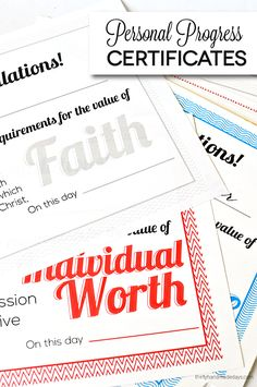 Printable Personal Progress Certificates for Young Women  - all of the values in one spot.