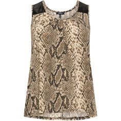 Samya Beige / Black Plus Size Snake print sleeveless top ($32) ❤ liked on Polyvore featuring tops, beige, plus size, jersey top, plus size faux leather tops, sleeveless jersey, faux leather top and snake print top