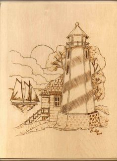 simple lighthouse wood burning pattern picture - Google Search