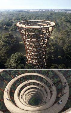 Interessant designter Aussichtsturm von einem dänischen Architekten