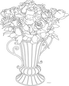 Beyond The Fringe Vase Of Roses Digi Freebie