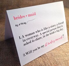 Will you be my Bridesmaid, Matron/Maid of Honor, Wedding Party Card, Card with Envelopes - Set of 5