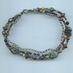 Rustic Three Strand Anklet Sundance Inspired Garnet, Turquoise, Smoky Quartz. and Czech Picasso Beads on Etsy, $26.99
