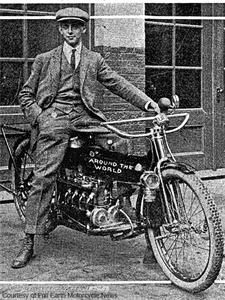 Carl Stearns Clancy, the first motorcyclist to circle the globe, aboard his 1912 Henderson motorcycle before starting his ride around the world 1912-1913.