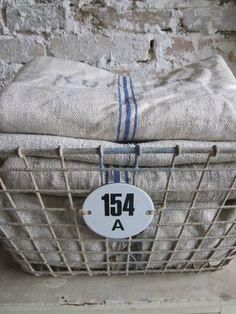 vintage linens and wire basket   Junk Love