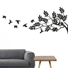Flot wallsticker - Wallsticker med træ og fugle - Wallsticker til din entre - Wallsticker til din stue - Stor wallsticker - Få den størrelse og farve, du ønsker