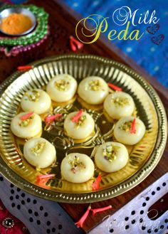 Easy, quick and delicious Milk Peda or Dudh Peda sweets recipe Indian Dessert Recipes, Indian Sweets, Indian Snacks, Sweets Recipes, Indian Recipes, Sweet Desserts, Easy Desserts, Delicious Desserts, Easy Sweets