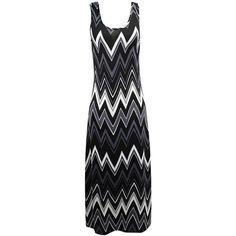 Black White & Gray Sleeveless Chevron Maxi Sun Dress ($25) ❤ liked on Polyvore featuring dresses, black, grey dress, maxi sundresses, black and white long dress, black and white maxi dress and chevron maxi dresses