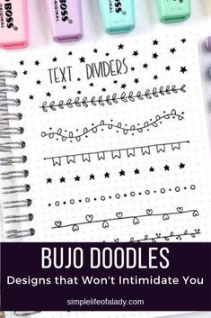 36 Simple Doodles You Can Easily Copy in Your Bullet Journal - Simple Life of a Lady - Photo Journals Doodles easy Bullet Journal Headers, Bullet Journal Font, Journal Fonts, Journal Pages, Bullet Journal Dividers, Bullet Journal For School, Bullet Journal Doodles Ideas, Borders Bullet Journal, Bullet Journal Title Page