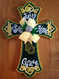 "Baylor 16"" Hand Painted Wooden Cross. $42, via Etsy."
