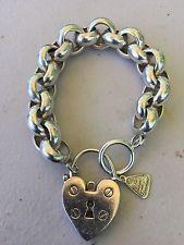 Heavy Sterling Silver Belcher Bracelet With Von Treskow Heart Padlock Silver Jewelry Box, Silver Charm Bracelet, Heart Jewelry, Silver Bracelets, Silver Charms, Sterling Silver Jewelry, Vintage Jewelry, Unique Jewelry, Tiffany Bracelets